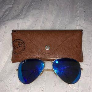 Rayban blue polarized aviator sunglasses
